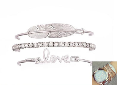 4 Pcs Bracelet Set Feather