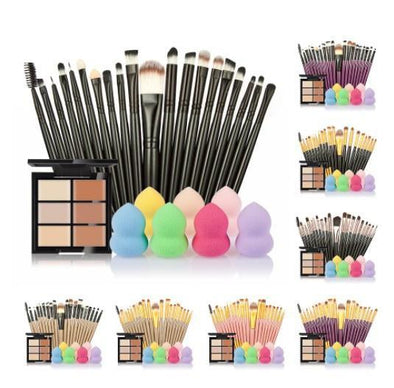Makeup Set with 6 Colours Concealer Palette + Puff + 20 Brushes
