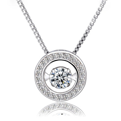 925 Sterling Silver Dancing Rhinestone Necklace