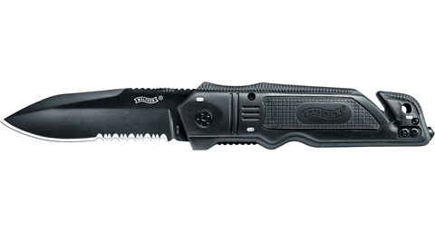 Knife Walther Walther Rescue Knife Black 440A, EDC, Essential, knives, one-handed folding - Frontier Outdoors Australia