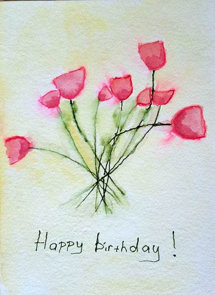 Easy greeting card with watercolor pencils and ink pens