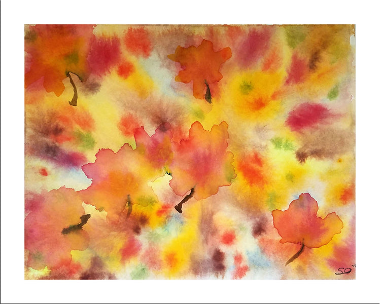 Fall Dance - painting with watercolor drops