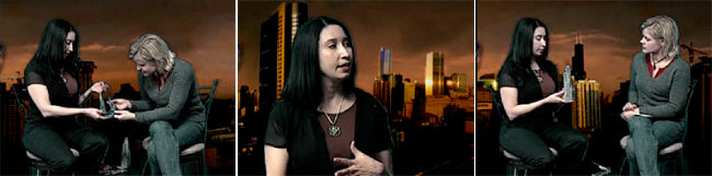 Three screenshots from Rebeca's interview on Art on TV. In two images, Rebeca is showing her Sears Tower image to the interviewer, and in one image Rebeca is speaking and gesturing.