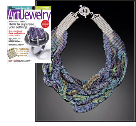 Cover of Art Jewelry magazine with a large inset showing Rebeca's famous Poseidon's Embrace necklace.