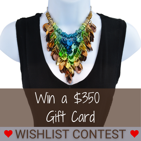 statement bib necklace in teal, green, pale yellow and brown with text Win a $350 Gift Card