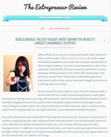 Screenshot of The Entrepreneur Review website with headline: Rebeca Mojica, The Self-Taught Artist Behind The World's Largest Chainmaille Supplier