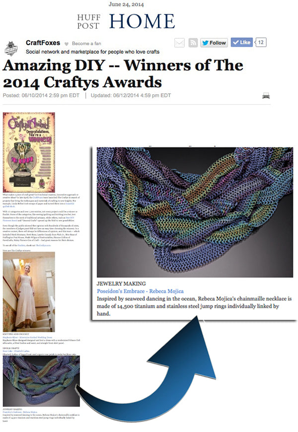 micromaille chainmaille necklace in Huff Post. Article headline reads: Amazing DIY -- Winners of the 1014 Craftys Awards