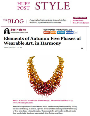 Screenshot of Huff Post Style blog post showing anodized aluminum chainmaille jewelry necklace by Rebeca Mojica