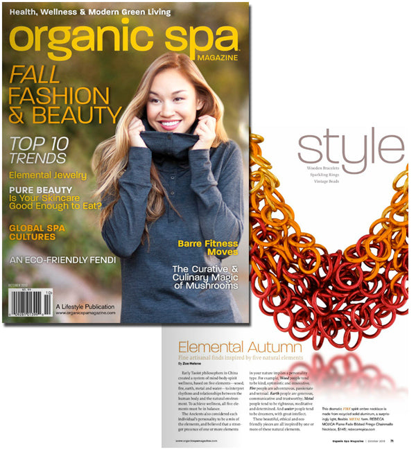 Organic Spa magazine cover with inner page showing gold, red and orange necklace by Rebeca Mojica