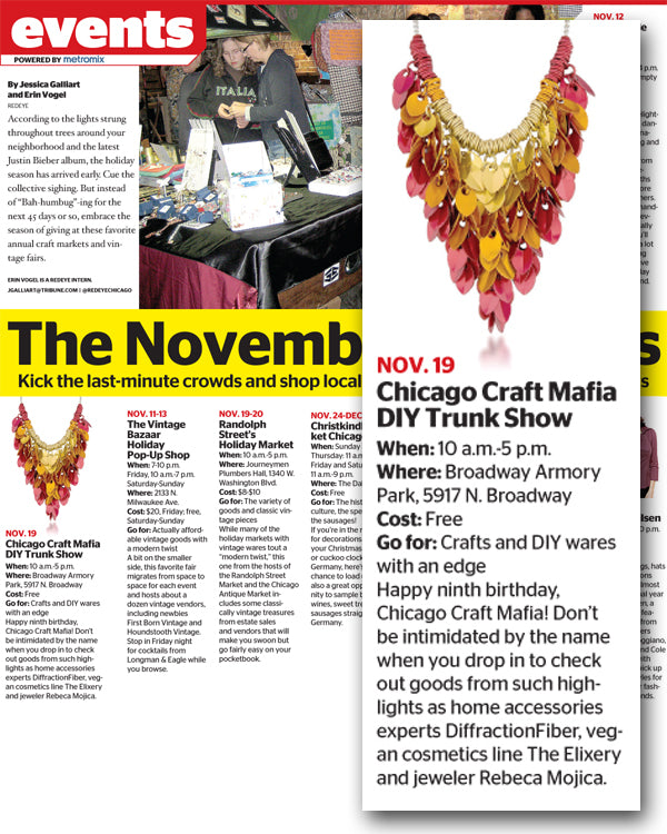 Screenshot of Events page from RedEye Chicago highlighting the DIY Trunk Show and featuring an image of Rebeca Mojica's scalemaille necklace in gold, orange and red.