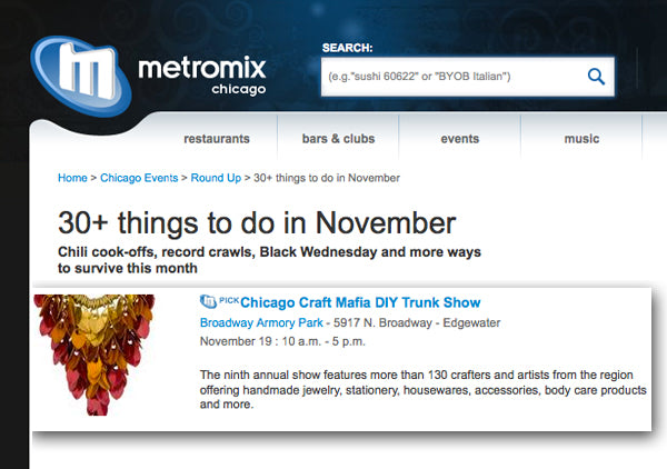 Screenshot of Metromix Chicago website with headline 30+ Things To Do In November and featuring the Chicago Craft Mafia DIY Trunk Show. Rebeca's Elemental Leaves necklace in gold, red and orange is shown.