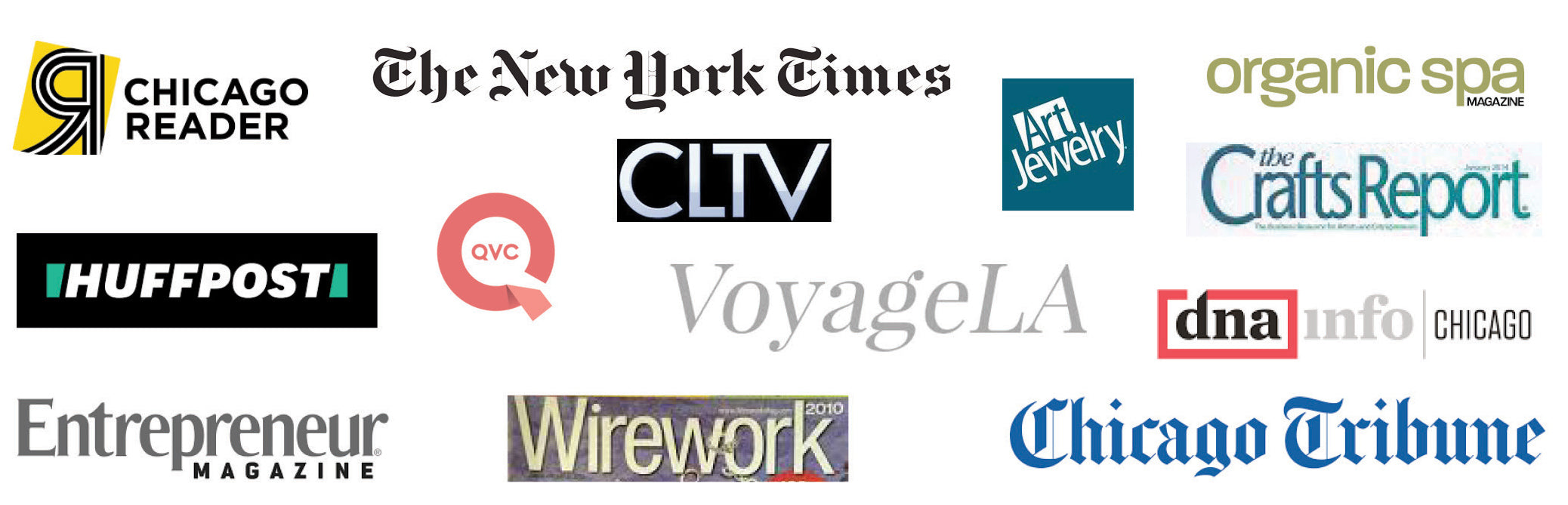 logos for media in which RMJ has appeared, including Chicago Reader, QVC, New York Times and Entrepreneur Magazine