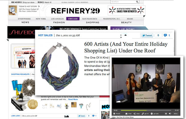 Screenshots from Refinery29 website with headline 600 Artists (And Your Entire Holiday Shopping List) Under One Roof.  Showcased is Rebeca Mojica's intricate Poseidon's Embrace necklace and a second photo shows Rebeca doing a demonstration at her booth at the One of A Kind Show in Chicago.
