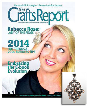 cover of The Crafts Report magazine with inset image of intricate chainmaille pendant