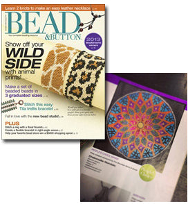 Bead&Button Magazine spread featuring People's Choice award winner for Bead Dreams - colorful chainmaille mandala by Rebeca Mojica
