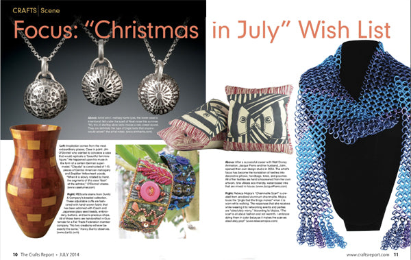 """Magazine spread with article headline: Focus """"Christmas in July"""" Wish List. Shown are various products, including Rebeca Mojica's blue and purple chainmaille scarf."""