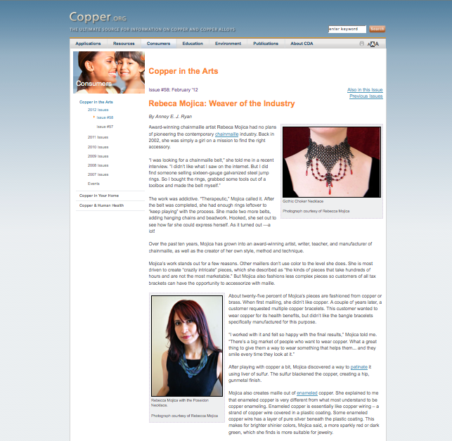screenshot of Copper in the Arts website with interview of Rebeca Mojica