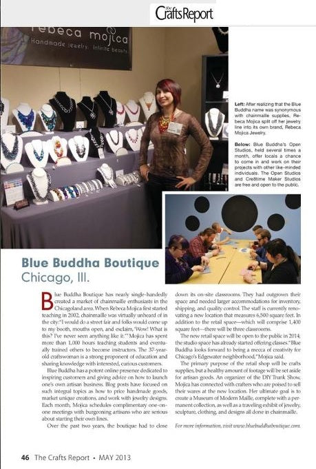 Crafts Report Magazine article featuring Blue Buddha Boutique in Chicago, IL. Shown is Rebeca Mojica with craft show jewelry booth. Second photo shows a group of 6 people gathered around a table using pliers to create chainmaille