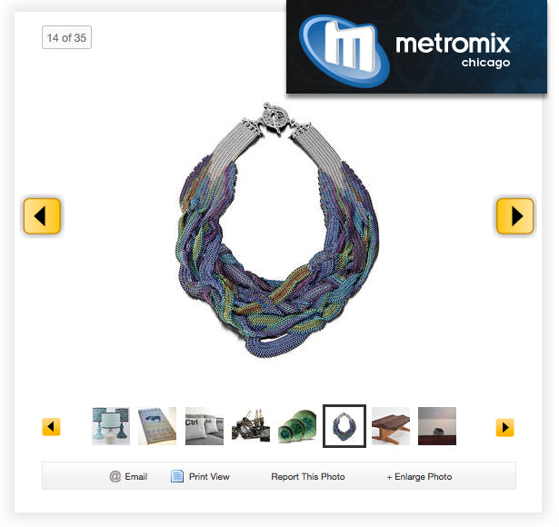 screenshot of Metromix Chicago website showcasing micromaille mesh necklace in blue, green, brown and purple by Rebeca Mojica