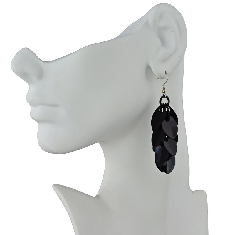 Cascading Leaves Long Earrings - Black