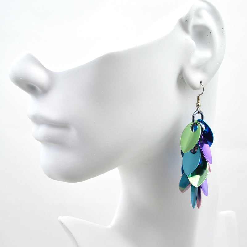 Cascading Leaves Long Earrings - Cosmic Unicorn