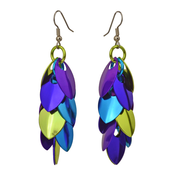 Long Feathered Earrings - Peacock