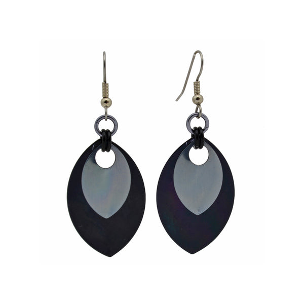Double Leaf Earrings - Black & Grey