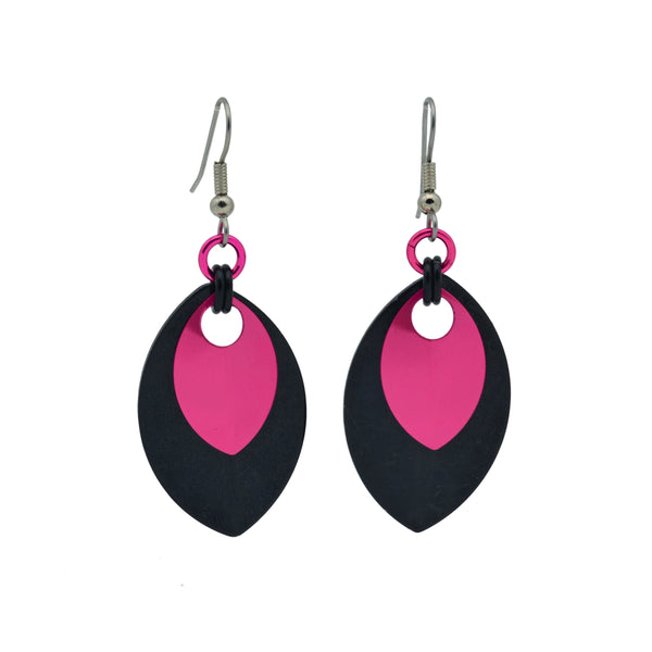 Double Leaf Earrings - Black & Hot Pink