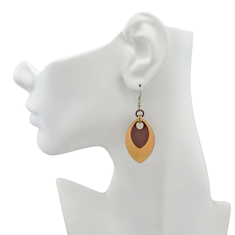 Double Leaf Earrings - Champagne & Brown