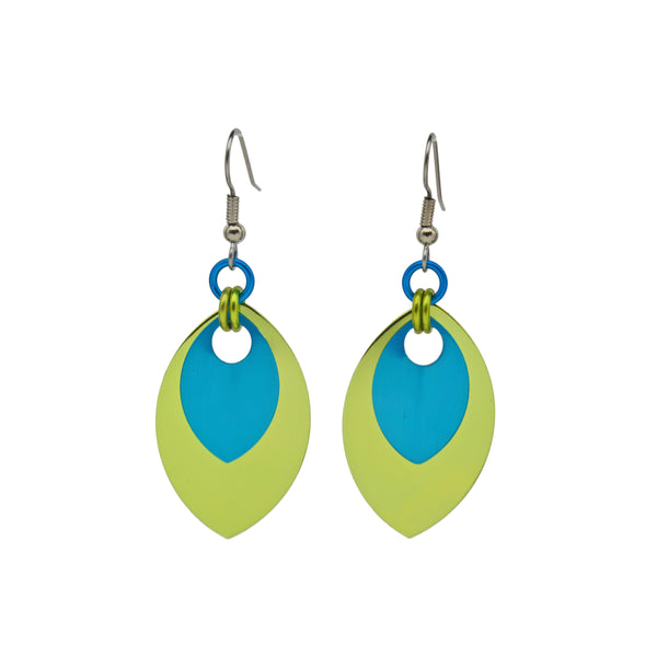 Double Leaf Earrings - Chartreuse & Turquoise