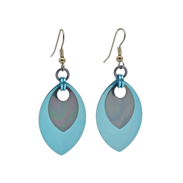 Double Leaf Earrings - Light Blue & Grey