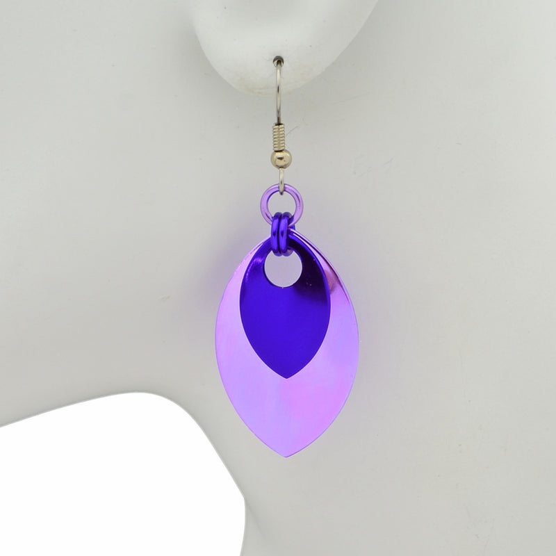 Double Leaf Earrings - Lilac & Purple