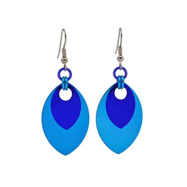 Double Leaf Earrings - Azure & Dark Blue