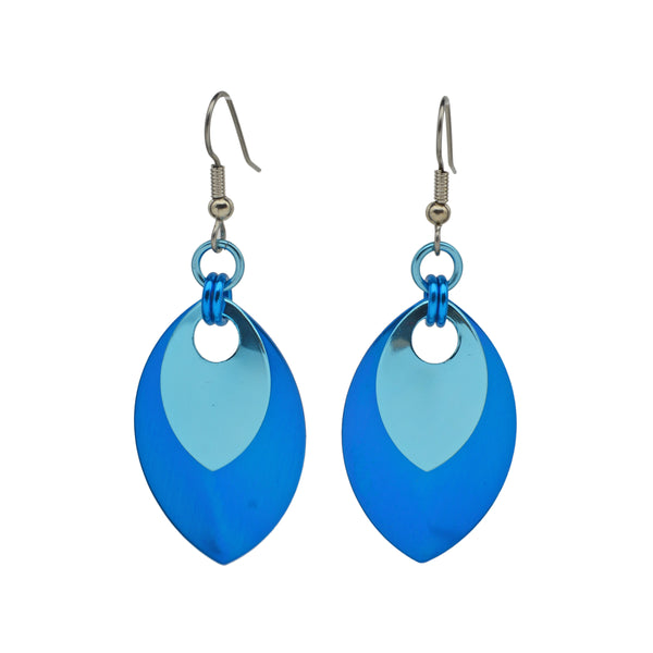 Double Leaf Earrings - Azure & Light Blue