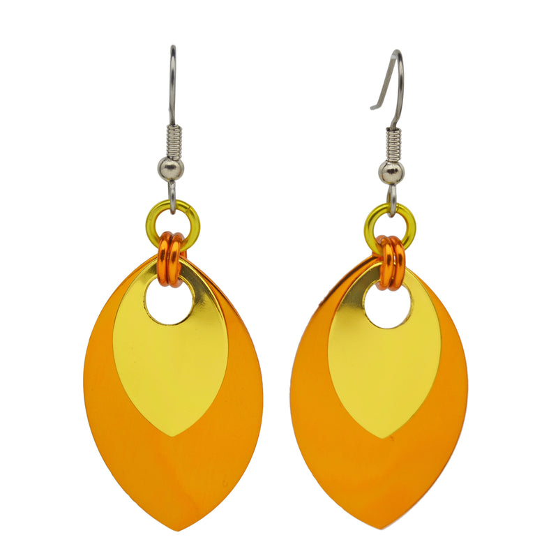 Double Leaf Earrings - Orange & Gold