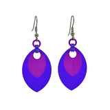Double Leaf Earrings - Purple & Violet