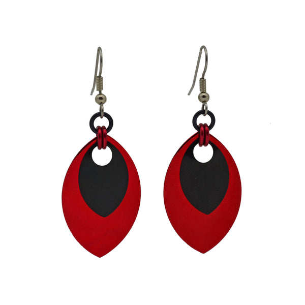 Double Leaf Earrings - Red & Black
