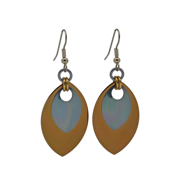 Double Leaf Earrings - Russet & Gunmetal