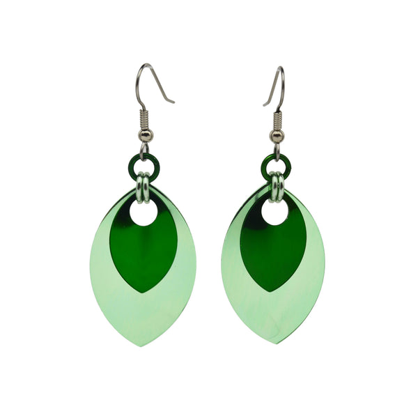 Double Leaf Earrings - Seafoam & Green