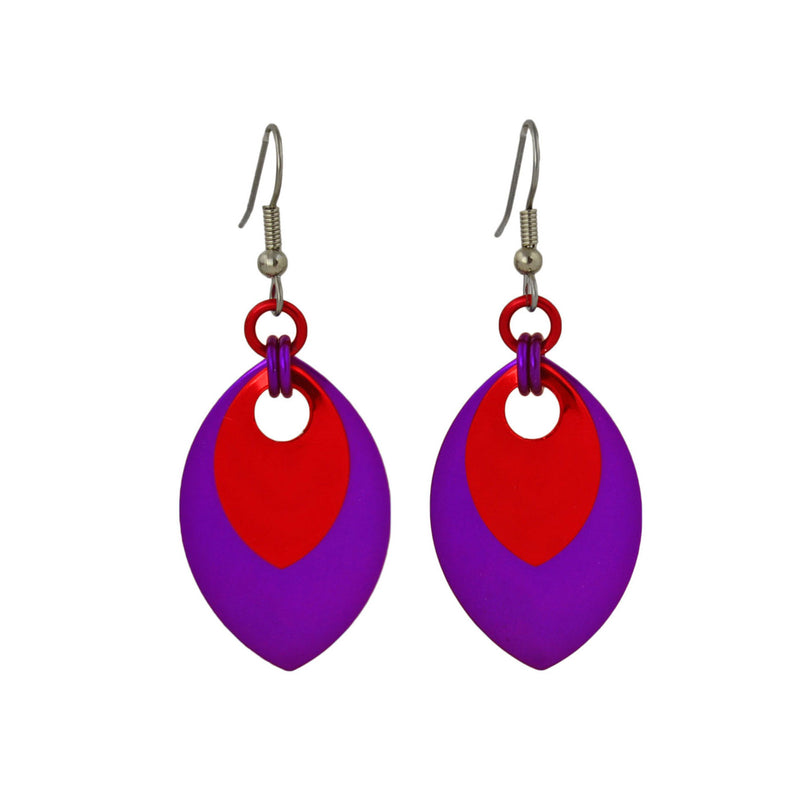 Double Leaf Earrings - Violet & Red