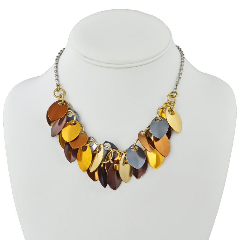 Cascading Leaves Necklace - Brown Metallic
