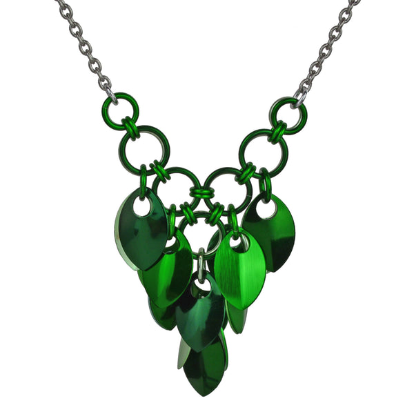 Cascading Leaves V Necklace - Greens