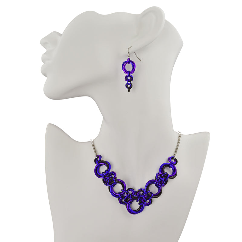 Knotted V Necklace - Purple Goth