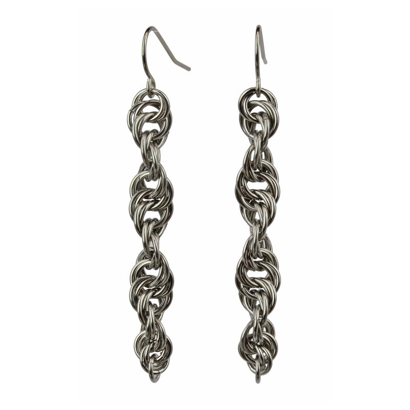 Helix chainmaille earrings in stainless steel by Rebeca Mojica.