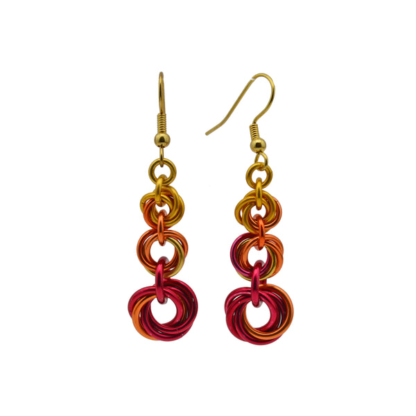 Knotted Graduated Earrings - Flame