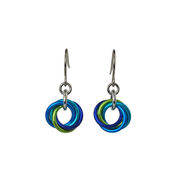 Minimalist chainmaille earrings in turquoise, blue and chartreuse on white background