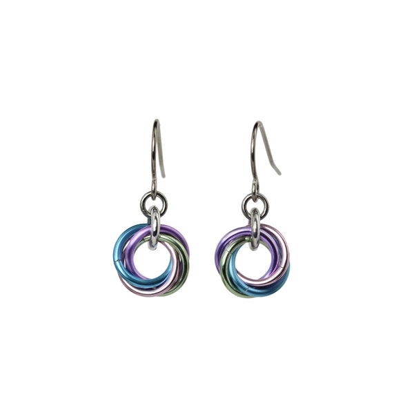 tiny vortex chainmaille earring in pastel pink, blue, green and lilac