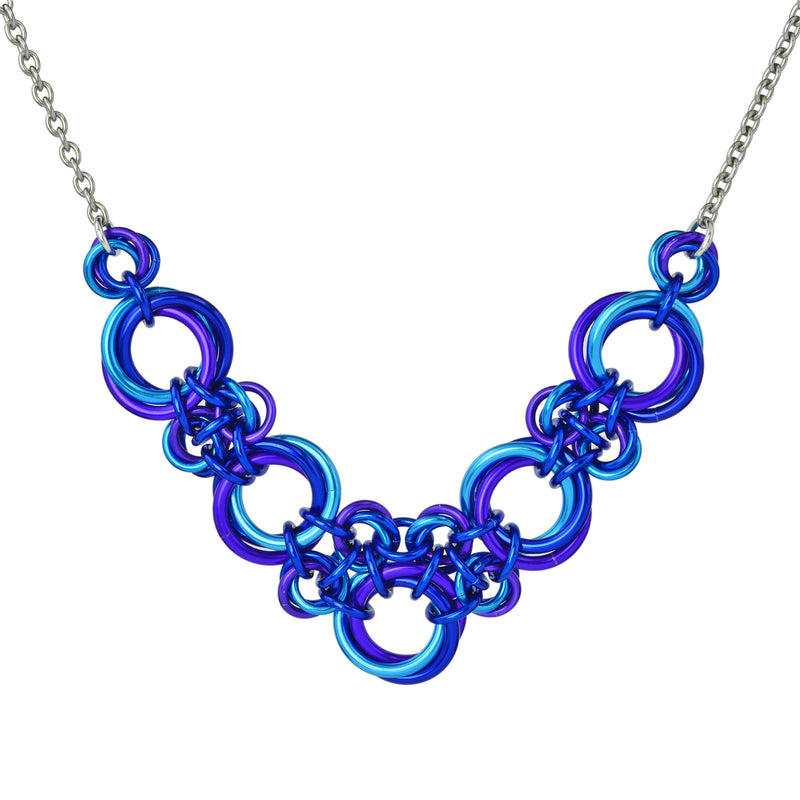 Knotted V Necklace - Water