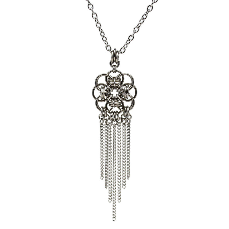 stainless steel chainmaille pendant with steel fringe chain on white background
