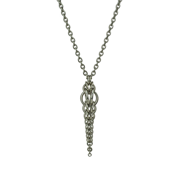Auger Pendant by Rebeca Mojica. Thin chainmaille pendant that has a slightly bulbous top and tapers to super teeny rings at the bottom tip.